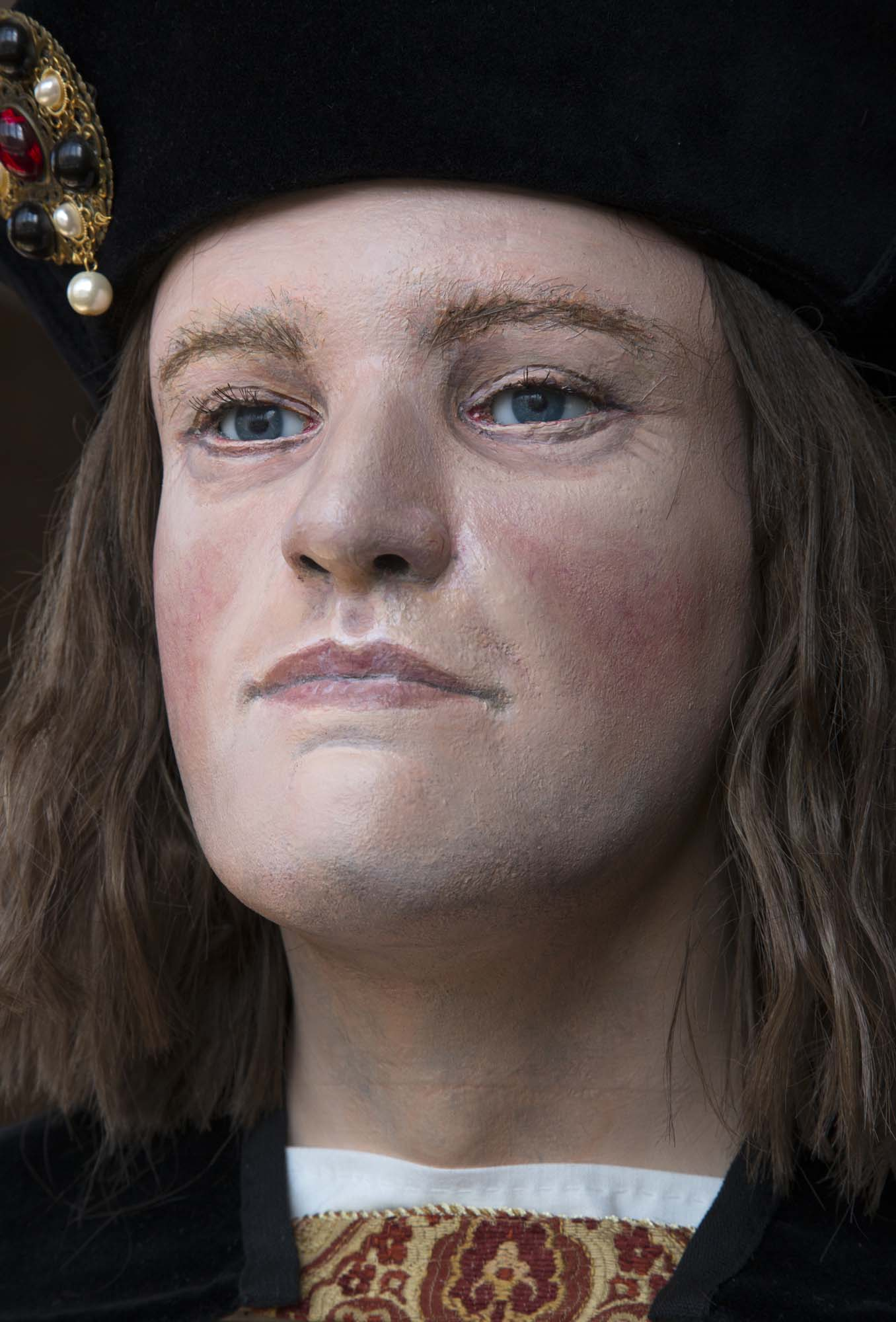 Facial reconstruction of Richard III, modelled by Professor Caroline Wilkinson. The bust is a representation of the Richard's appearance based on scientific interpretation of the anatomical features of the king's skull - Richard III Society