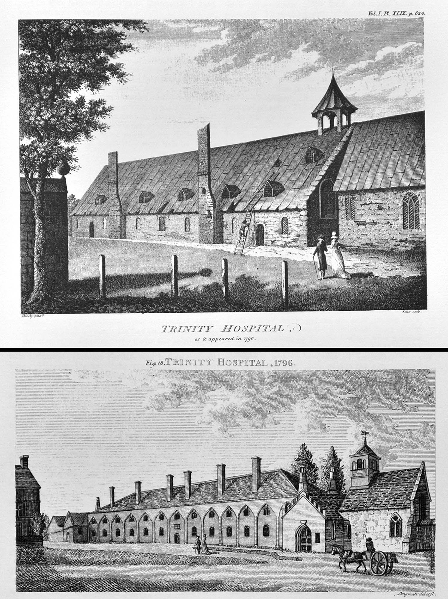 Drawings of Trinity Hospital showing the alterations funded by King George III -