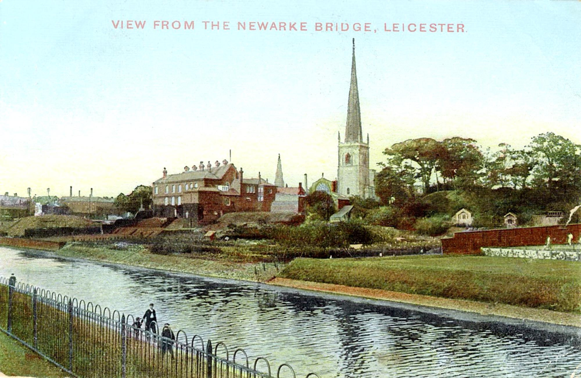 A postcard of Leicester Castle viewed from the Newarke Bridge, c.1909 -