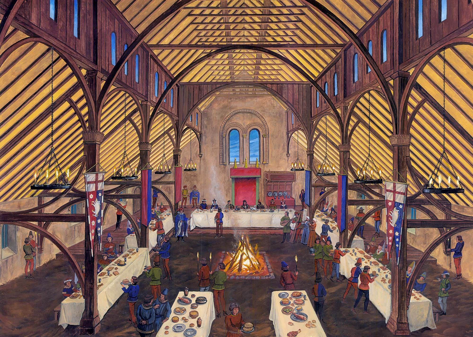 An artist's impression of a feast in the Great Hall of Leicester Castle in 1483 - Graham Sumner