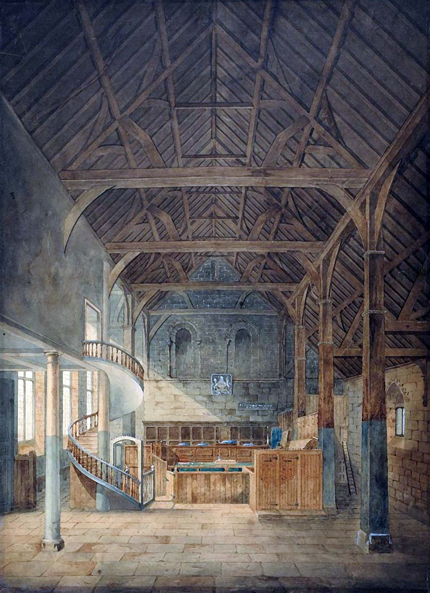 Henry Goddard's painting of the interior of the Great Hall in 1821, before it was partitioned into separate court rooms - The Goddard Family