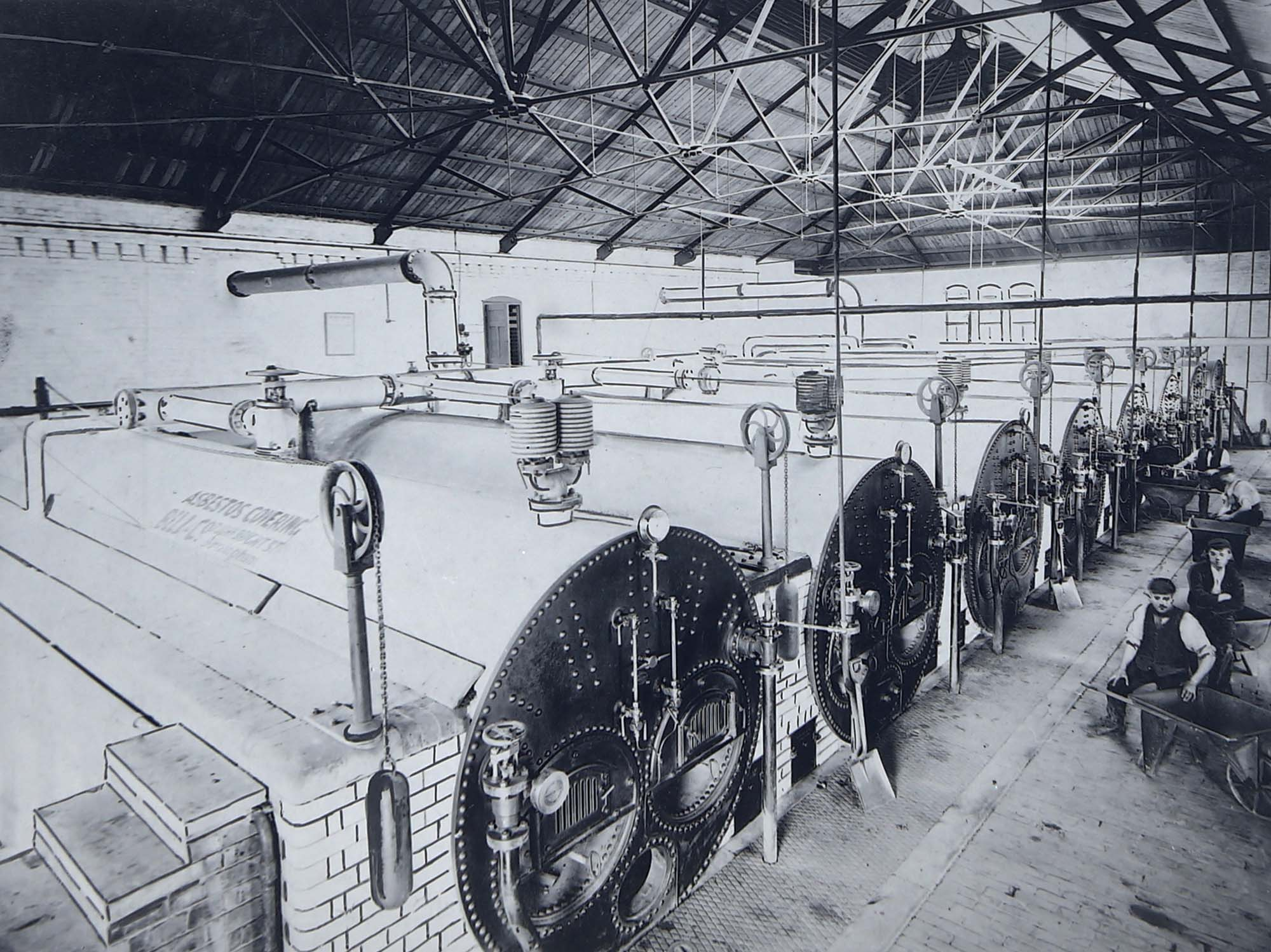 A hand-retouched photo of the boiler house at Abbey Pumping Station, circa 1890s. You can still see one of the boilers in situ in the main gallery space at the museum - Leicestershire Record Office
