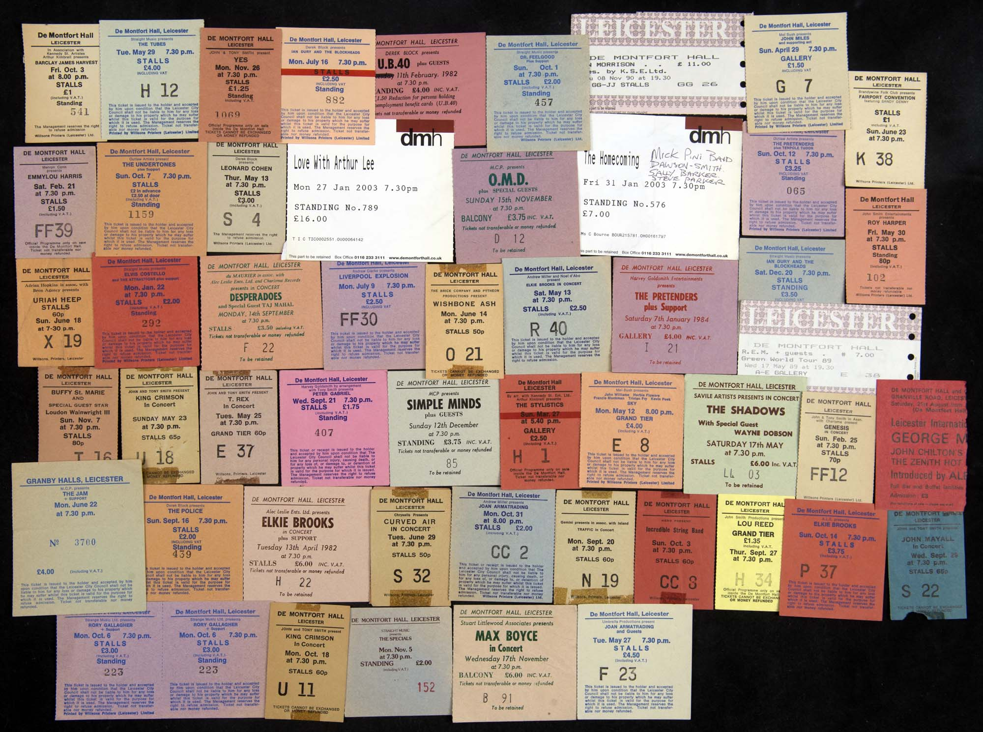 A collage of ticket stubs from performances at De Montfort Hall over the years - Leicestershire Record Office
