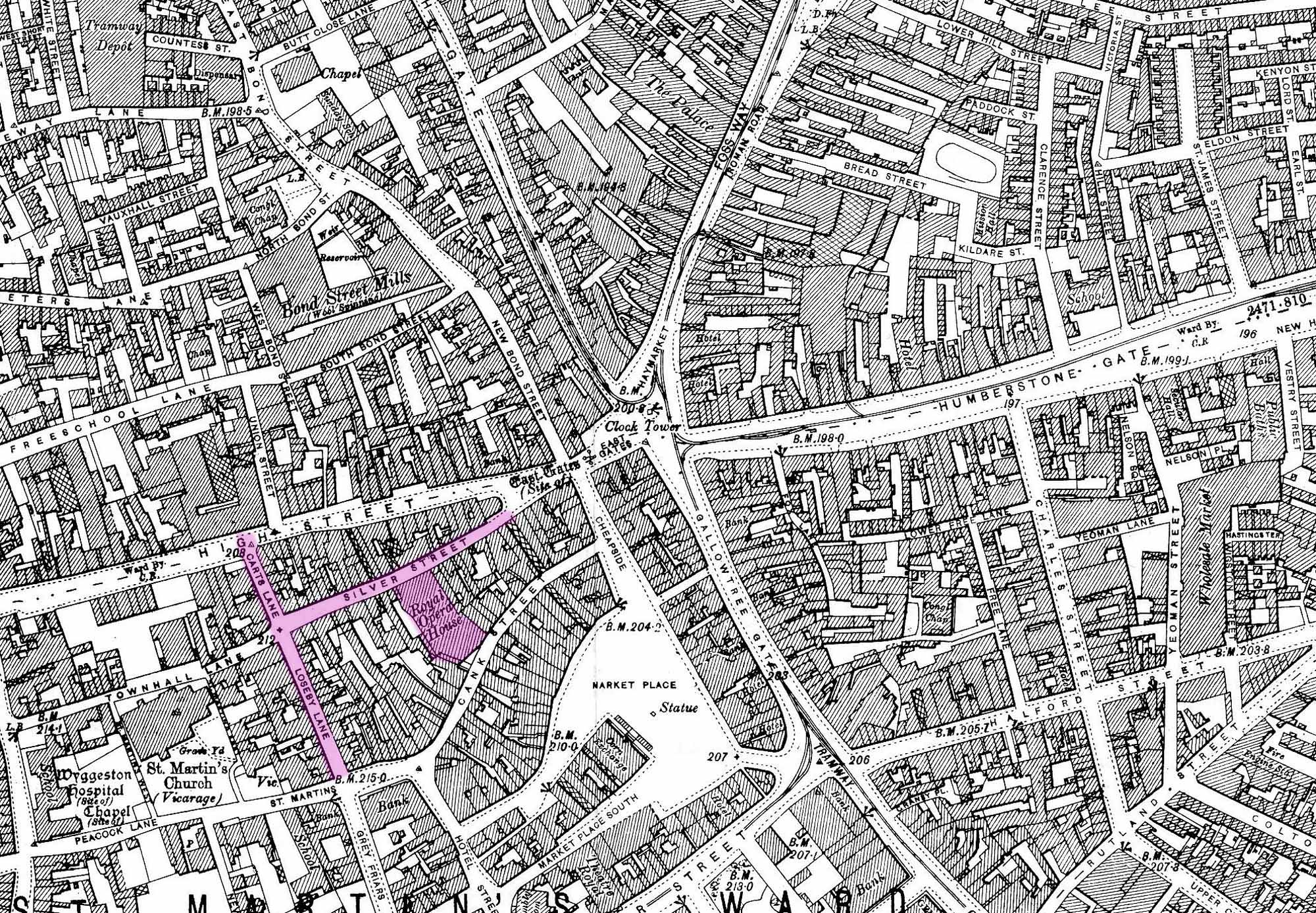 A 1901 map of central Leicester with Silver Street, The Lanes and the Royal Opera House highlighted -