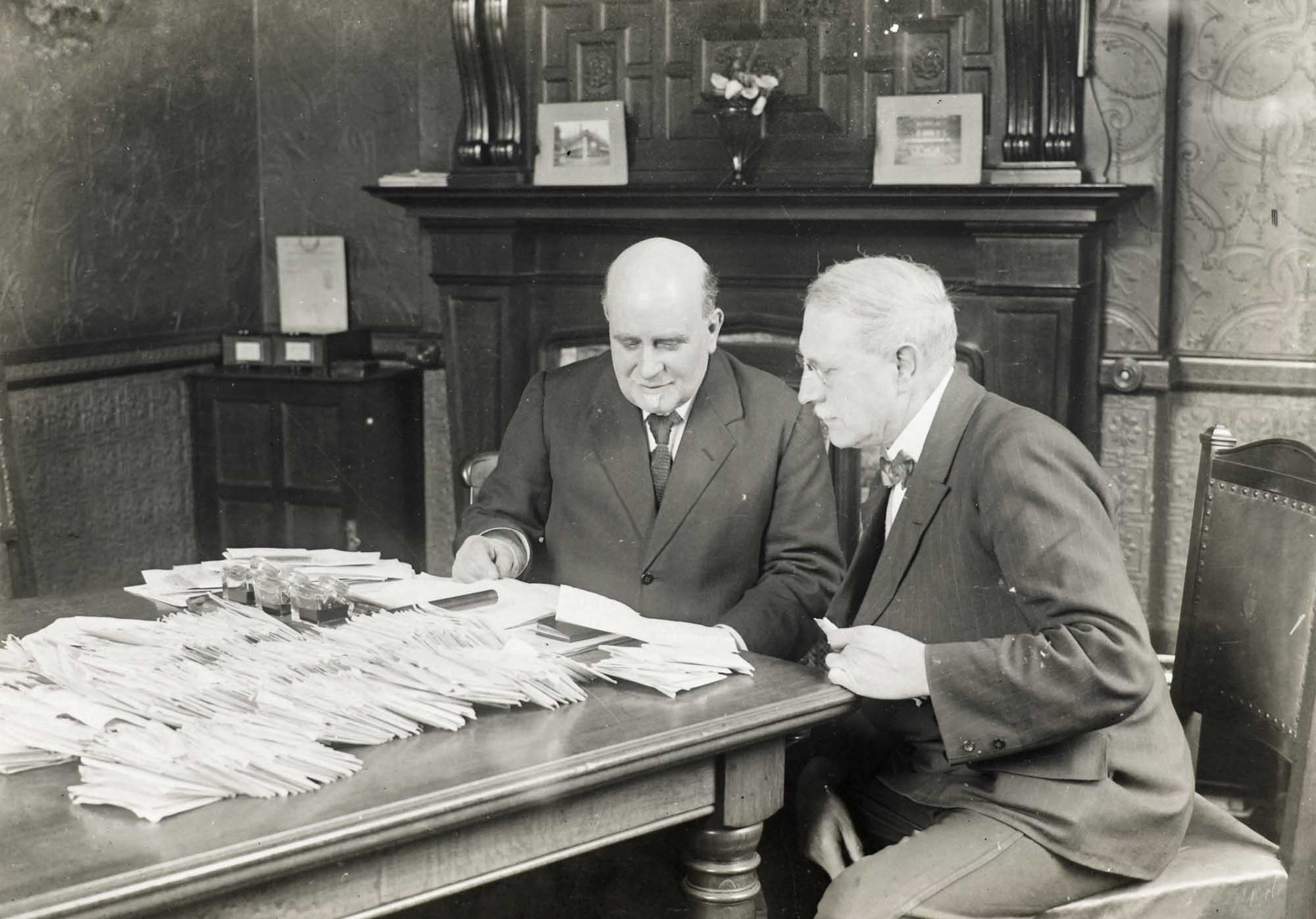Amos Sheriff during his tenure as Lord Mayor of Leicester, in his office at the Town Hall - Leicestershire Record Office