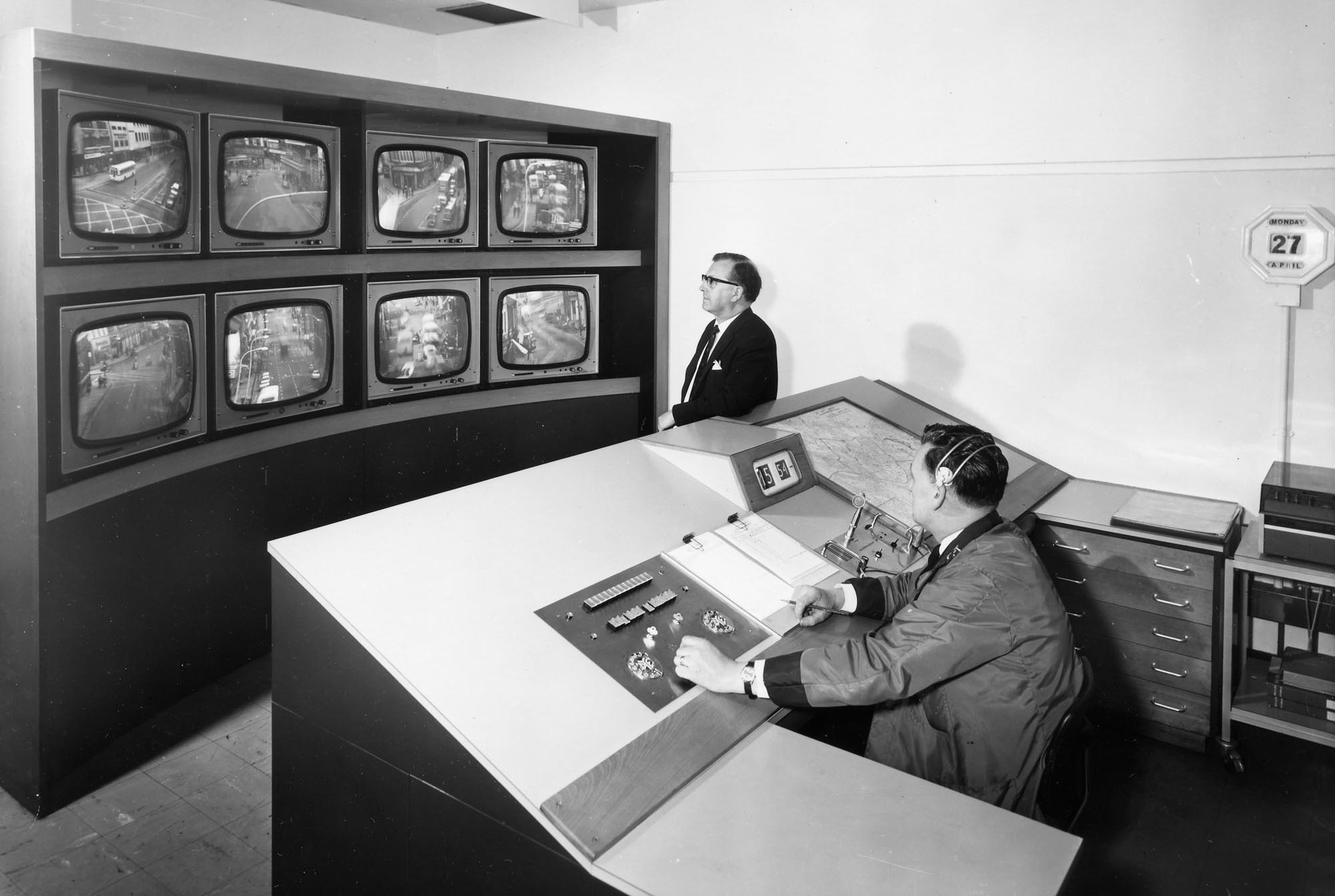 The control room with a bank of CCTV monitors - Leicester Transport Heritage Trust, Rob Haywood and Keith Wood