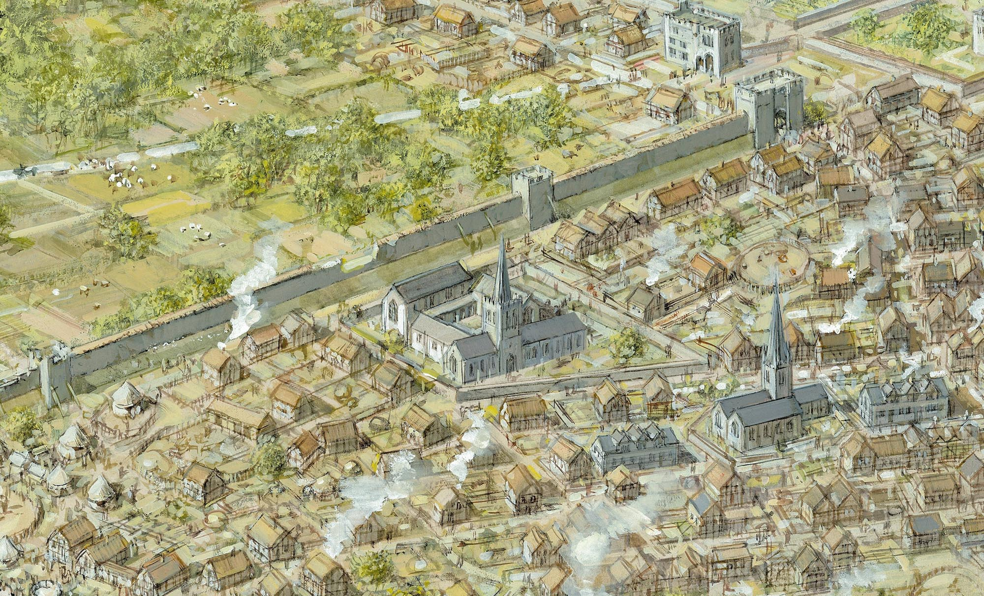 An artist impression of 15th Century Leicester - Mike Codd / University of Leicester Archaeological Services