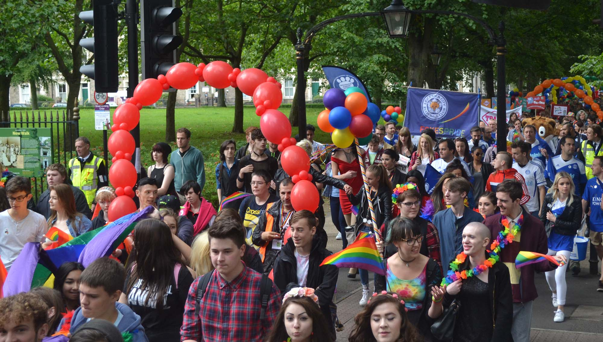 The Leicester Pride Parade making its way along New Walk -