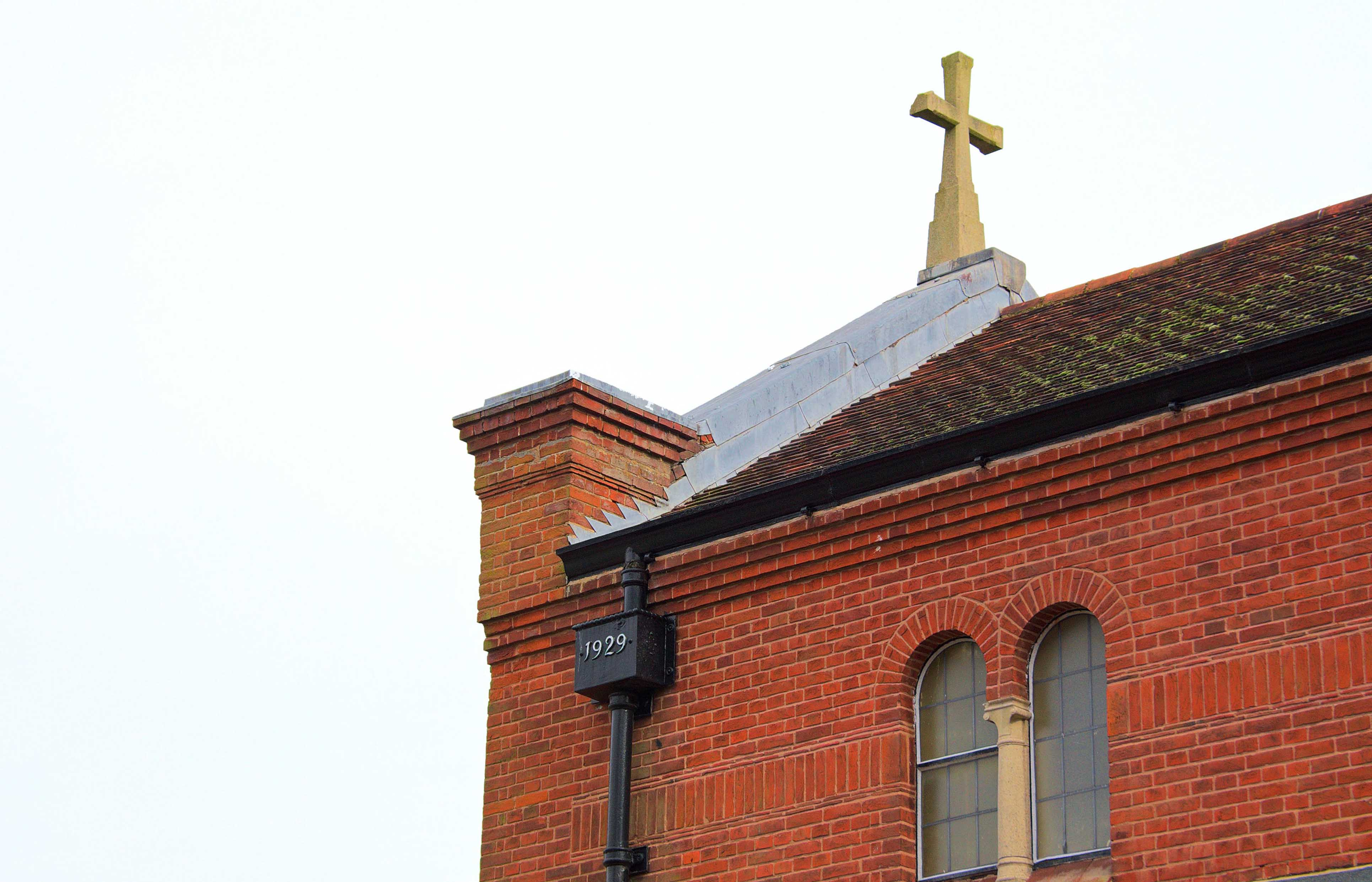 The original chapel, note the drain hopper dated 1929 -