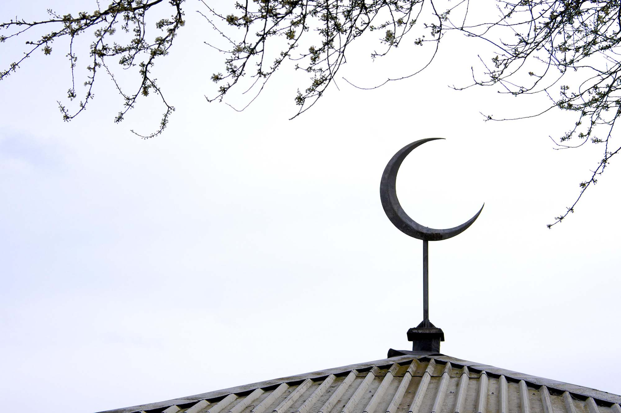 The crescent moon on top of the janazgah -