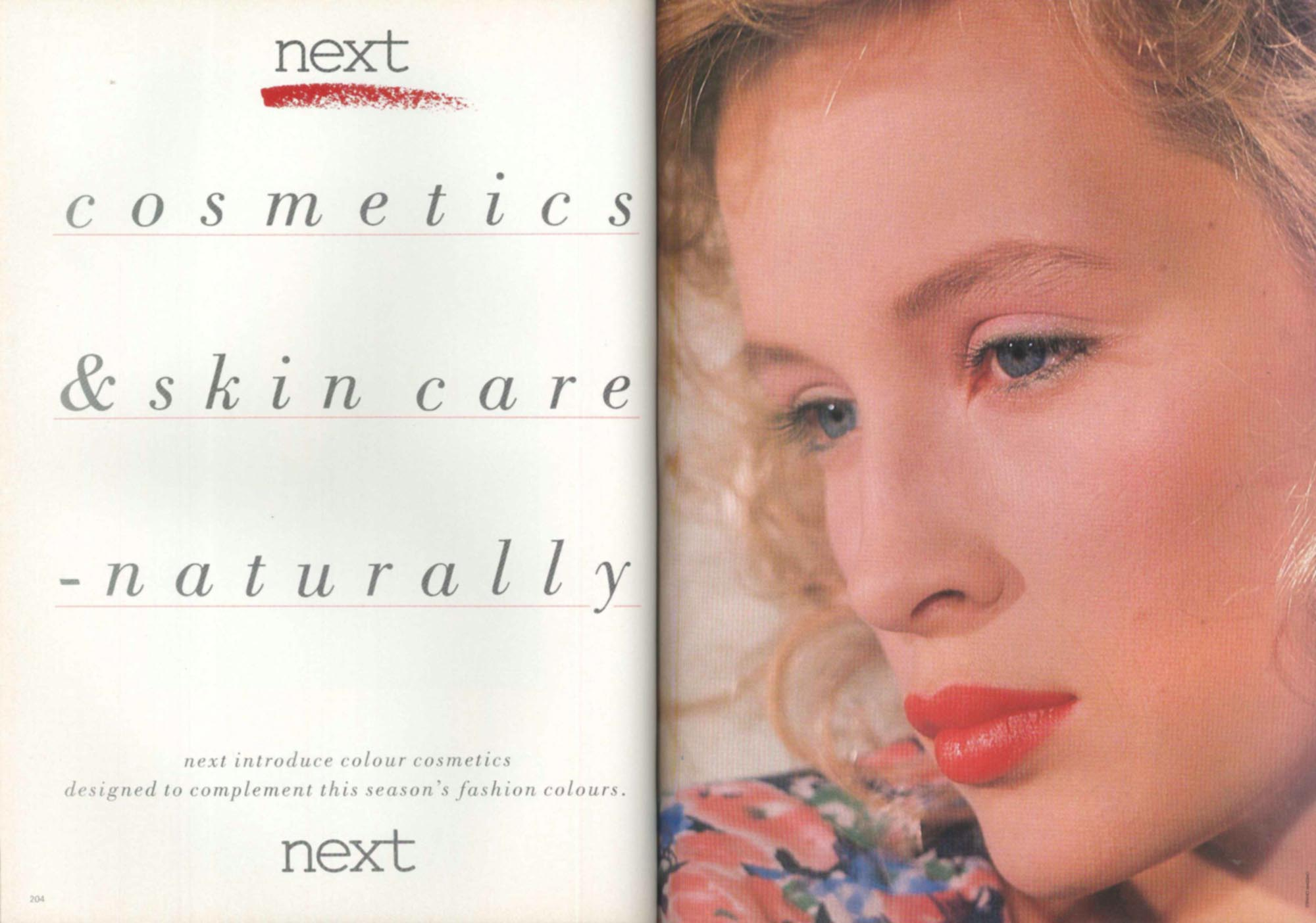 An advert for cosmetics by the Leicester company Next, 1986 -