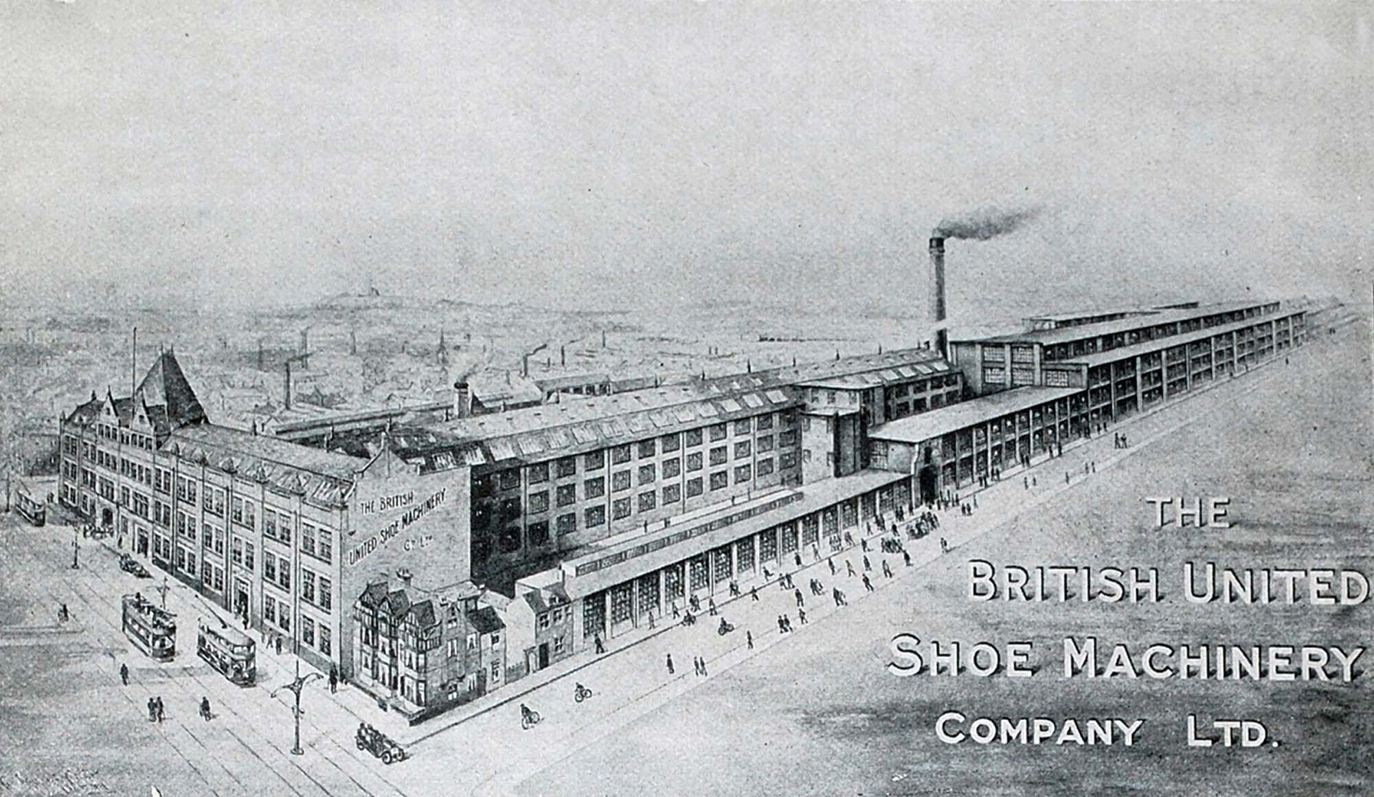 Detail of an advert for the The British United Shoe machinery Company Ltd. Showing their huge factory complex on Belgrave Road -