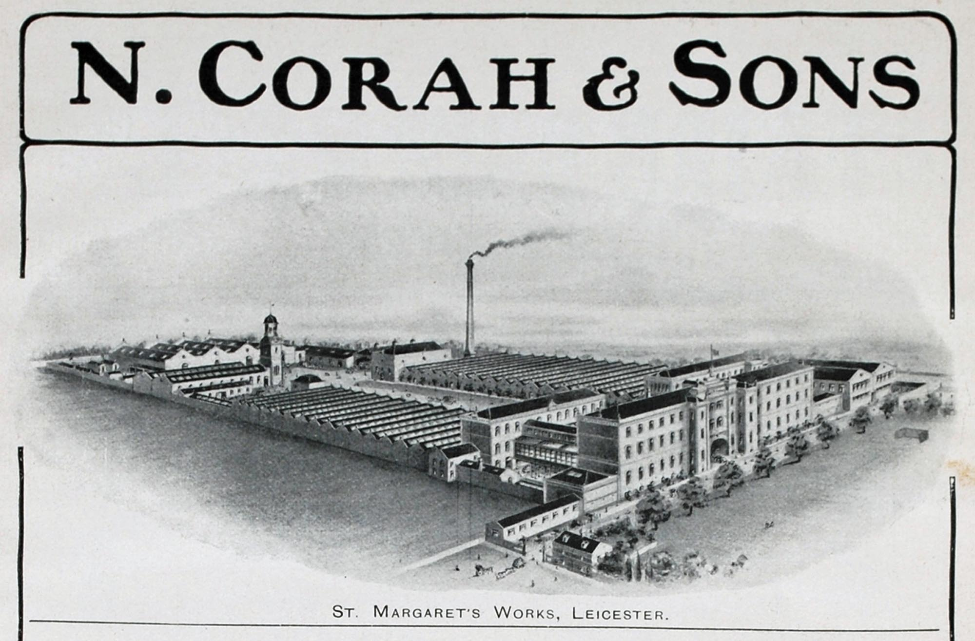 A drawing depicting the vast St Margaret's Works, the factory owned by Corah & Sons Ltd. -