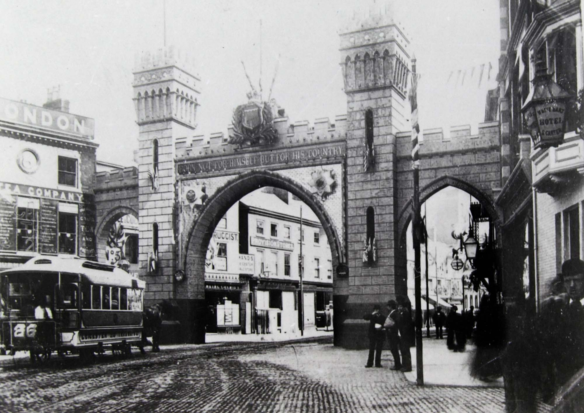 A temporary arch built for the royal visit of the Price of Wales in 1881. This one was at the top of Belgrave Gate near the Clock Tower but there weremore around the city - Leicestershire Record Office