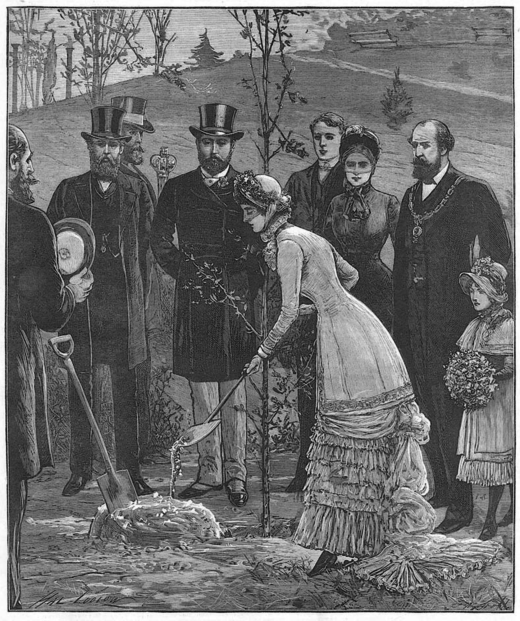 An engraving depicting the planting an oak tree in Abbey Park during the royal visit to Leicester, 1881 -