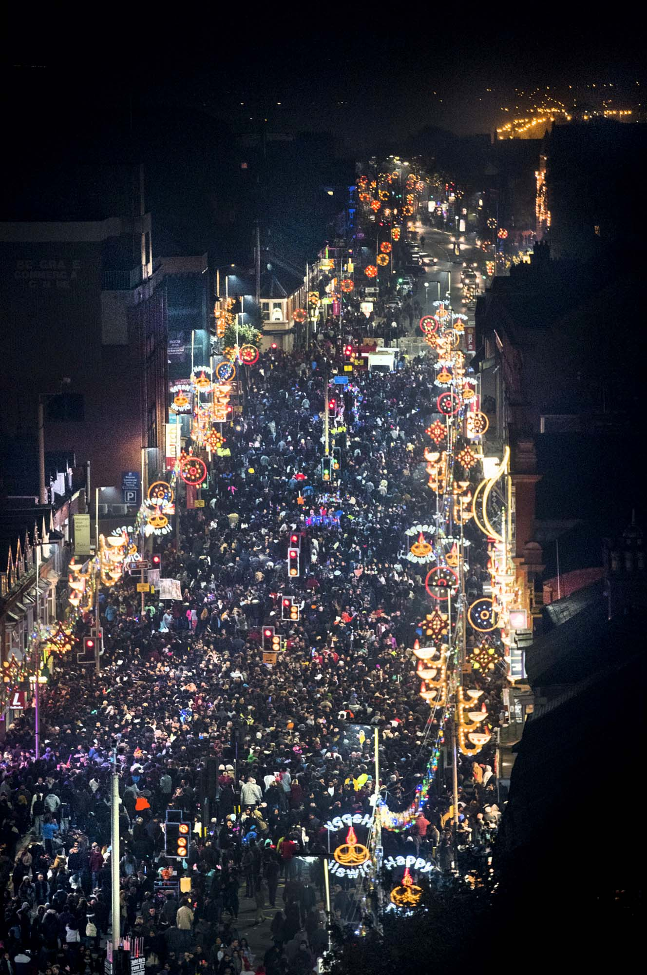 Aerial view of Belgrave Road Diwali celebrations in 2015 -