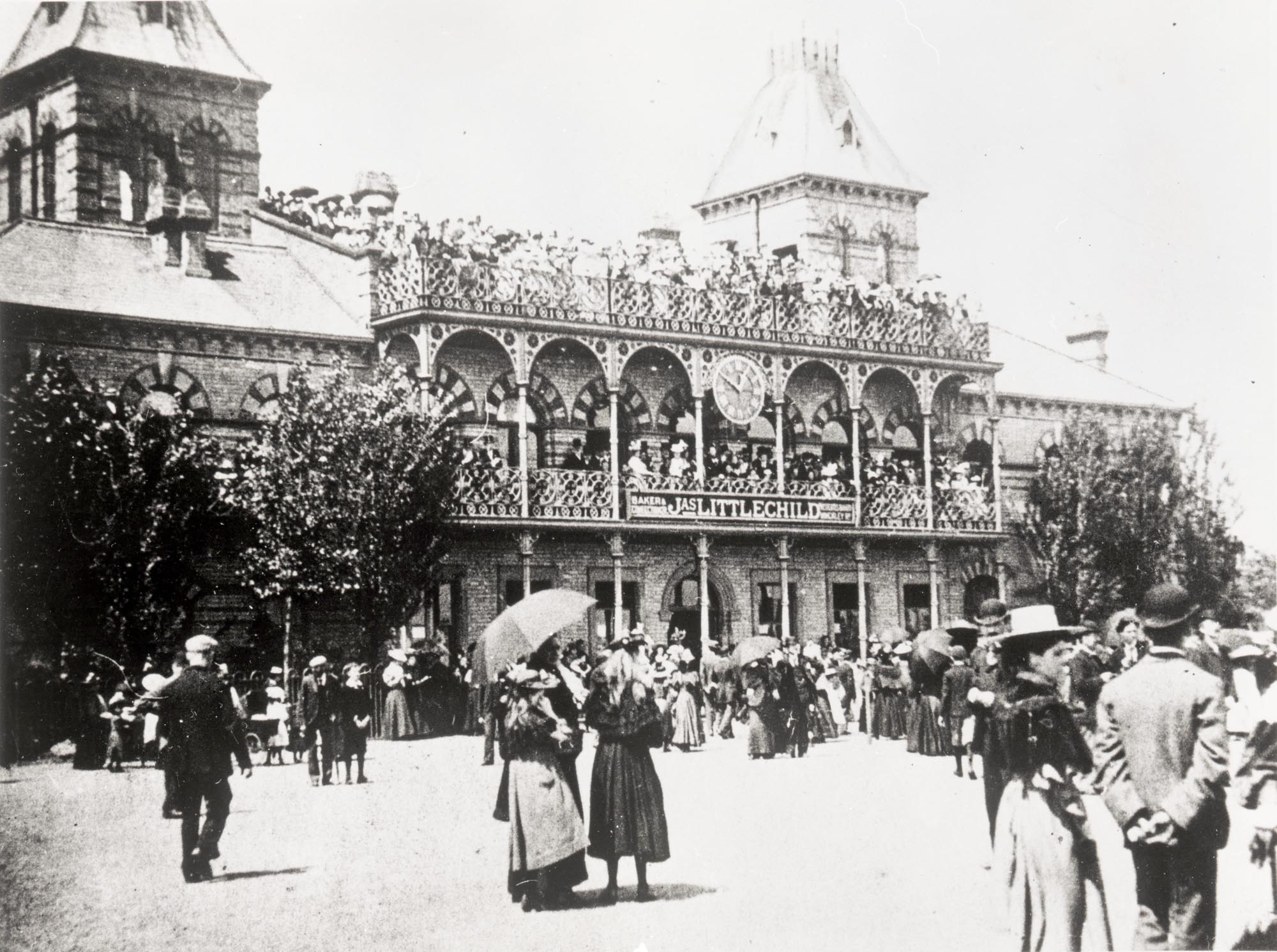 A very busy Pavilion on a race day, 1870s -