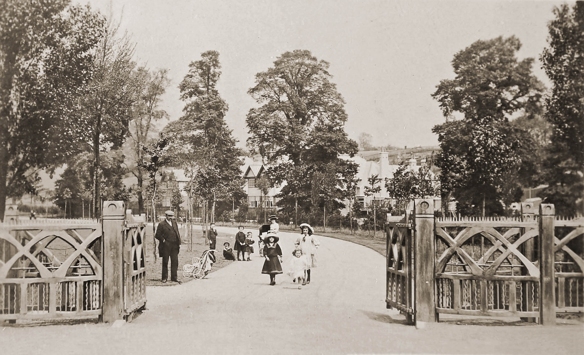 The main entrance to Western Park, circa 1900 -