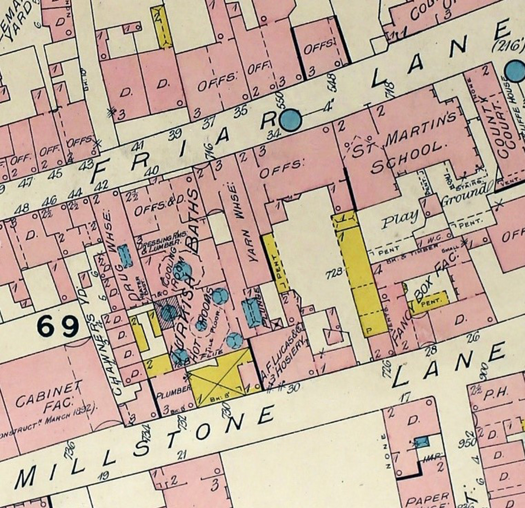 Goad's map of 1892 showing the original floor-plan of the Turkish Baths at 40 Friar Lane -