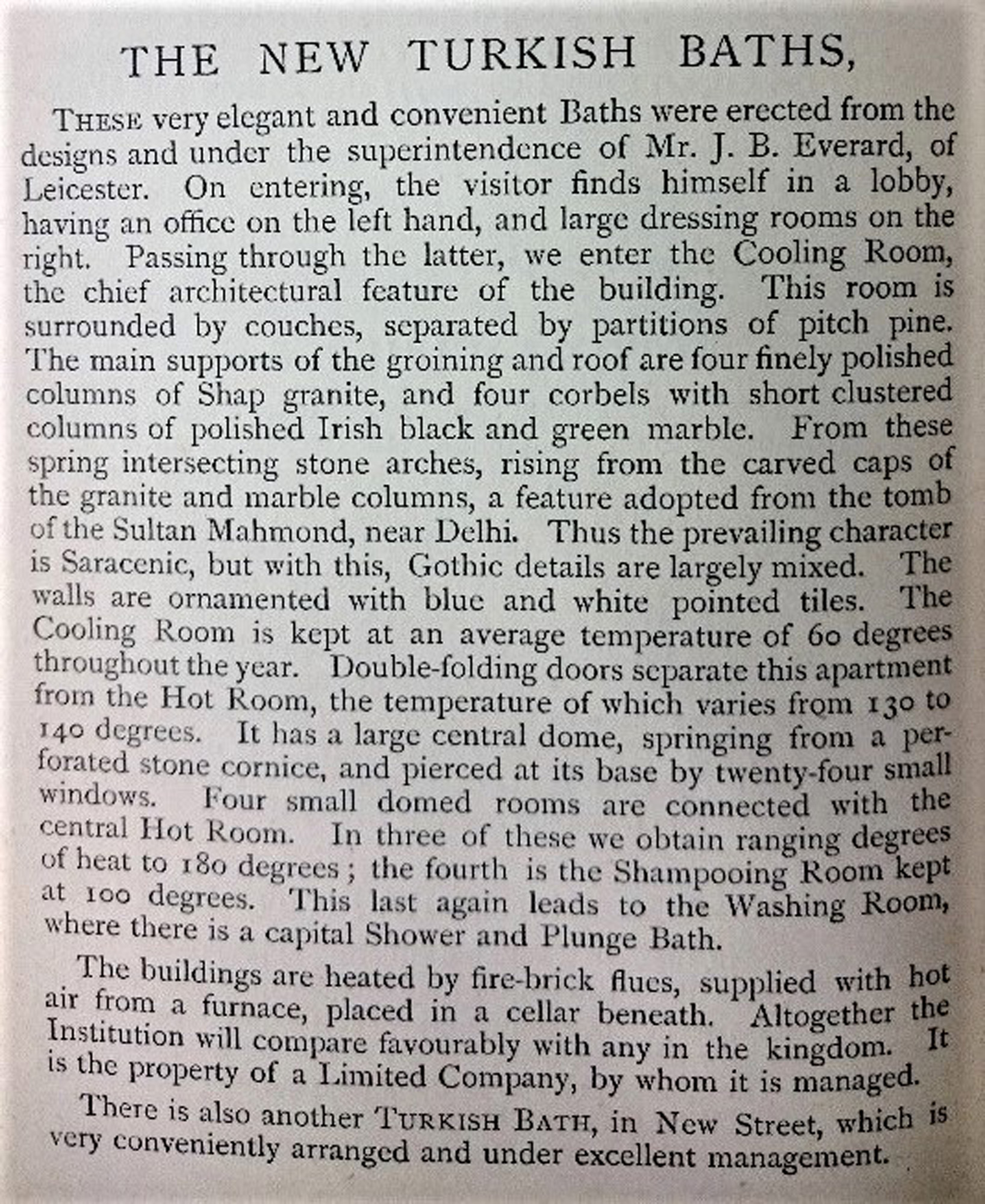 A description of the Turkish baths from Spencer's New Guide to Leicester -