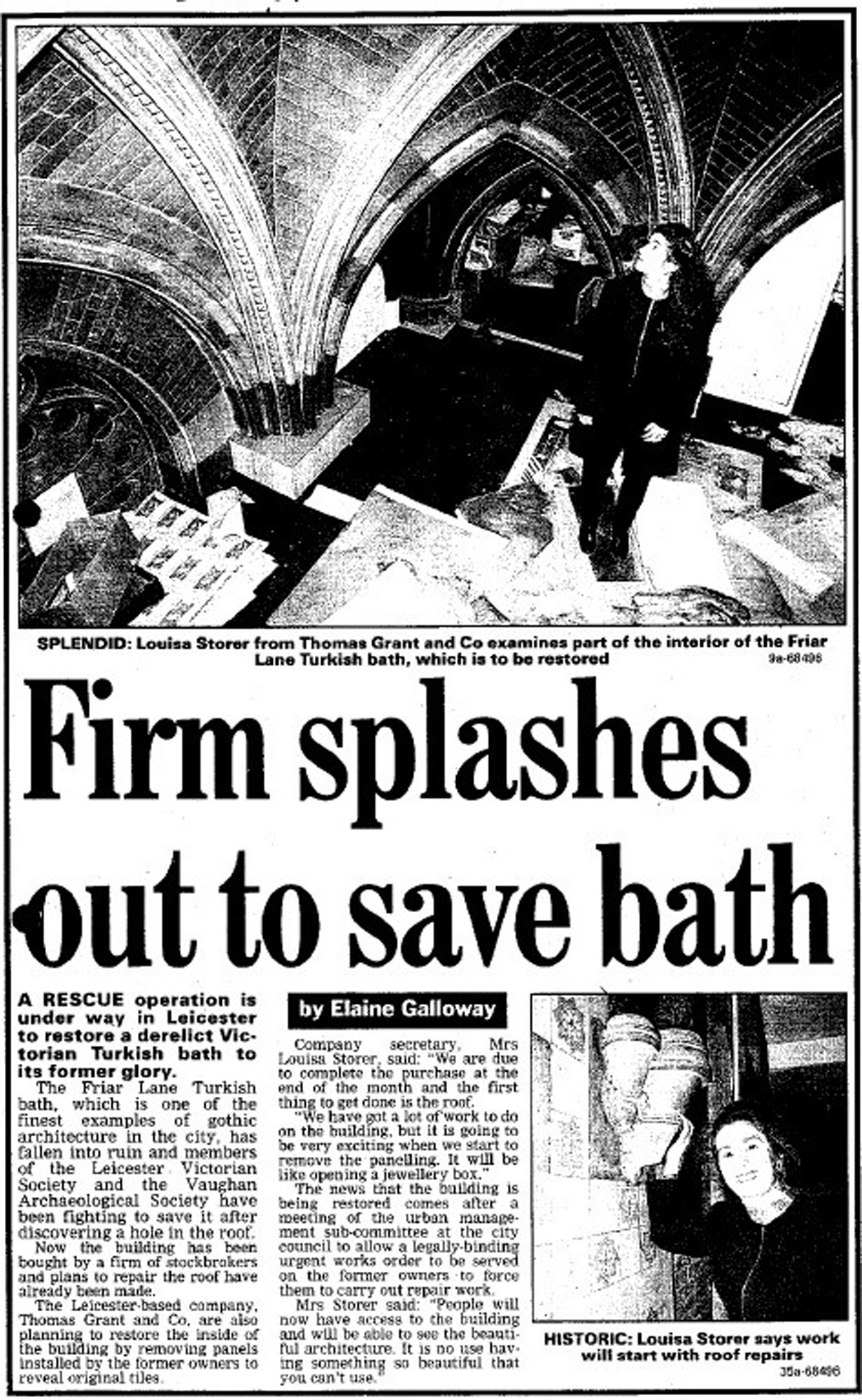 An article from 1999 describing restoration plans for the Turkish Baths -