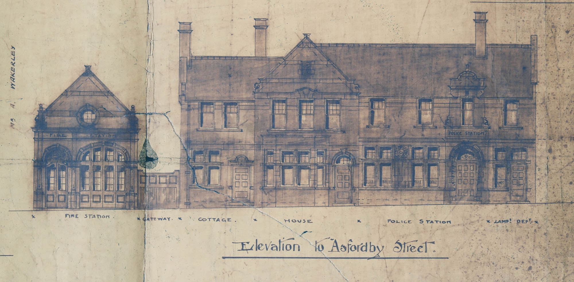 Original plan for the fire and police station - Leicestershire, Leicester and Rutland Record Office