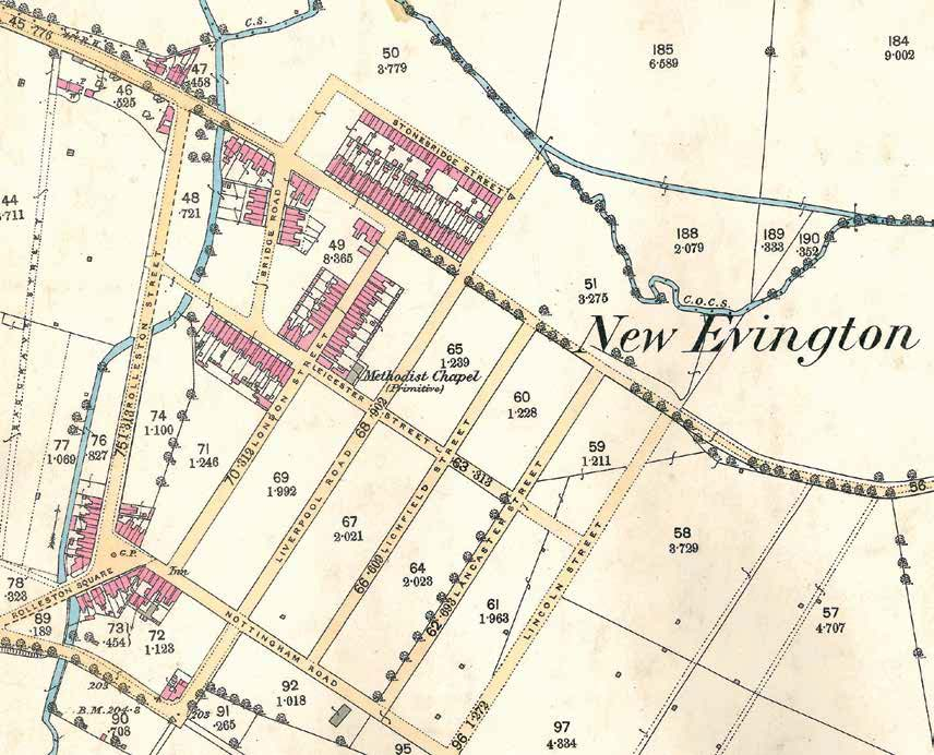 1888 Ordnance Survey map which shows the early development of North Evington - Record Office for Leicestershire, Leicester and Rutland