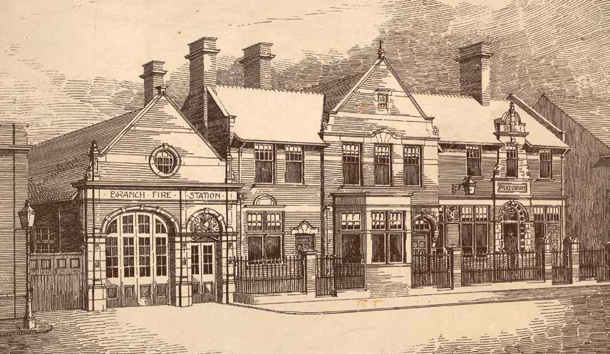 Lithograph of the police and fire station c.1900s - Record Office for Leicestershire, Leicester and Rutland