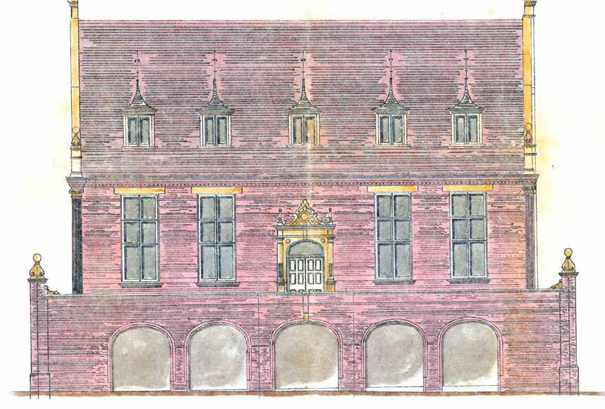 Drawing by Arthur Wakerley of the Market Hall that stood in Shaykh Adam Square - Record Office for Leicestershire, Leicester and Rutland